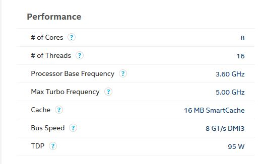 core i9-9900K TDP