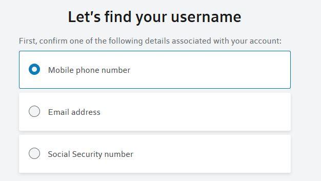 username forgot