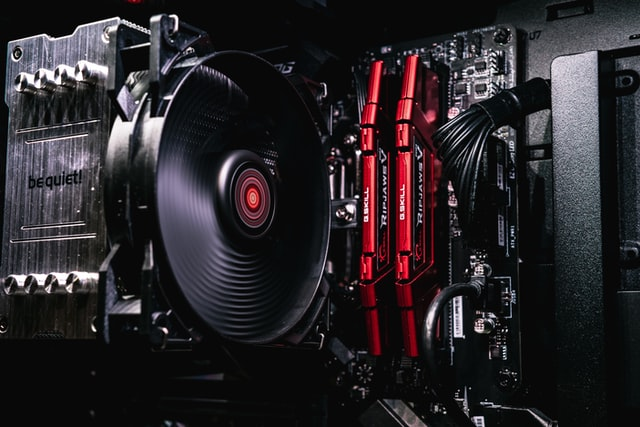 black and red cpu fan